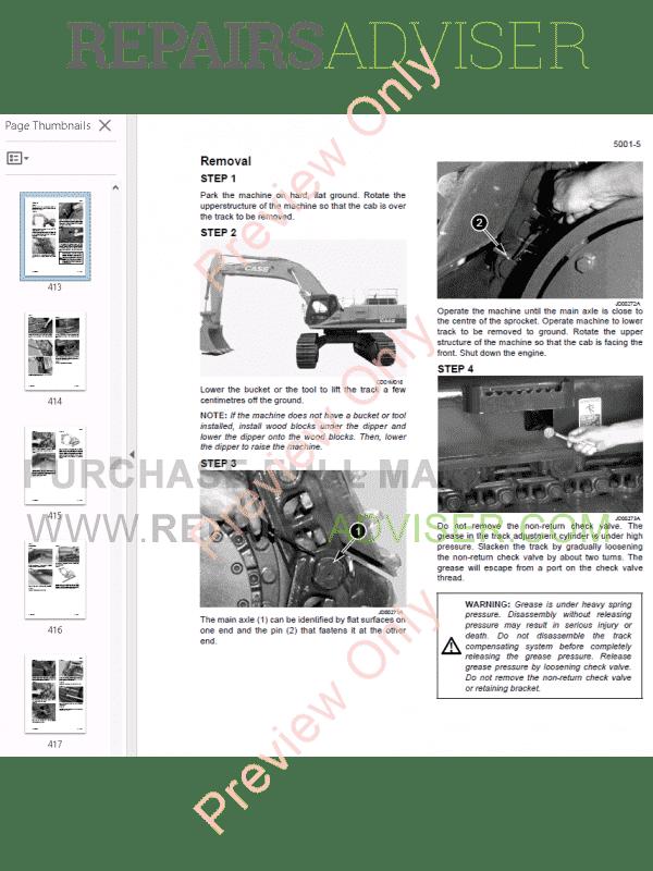 Fiat Kobelco Crawler Excavator E805 Workshop Manual PDF