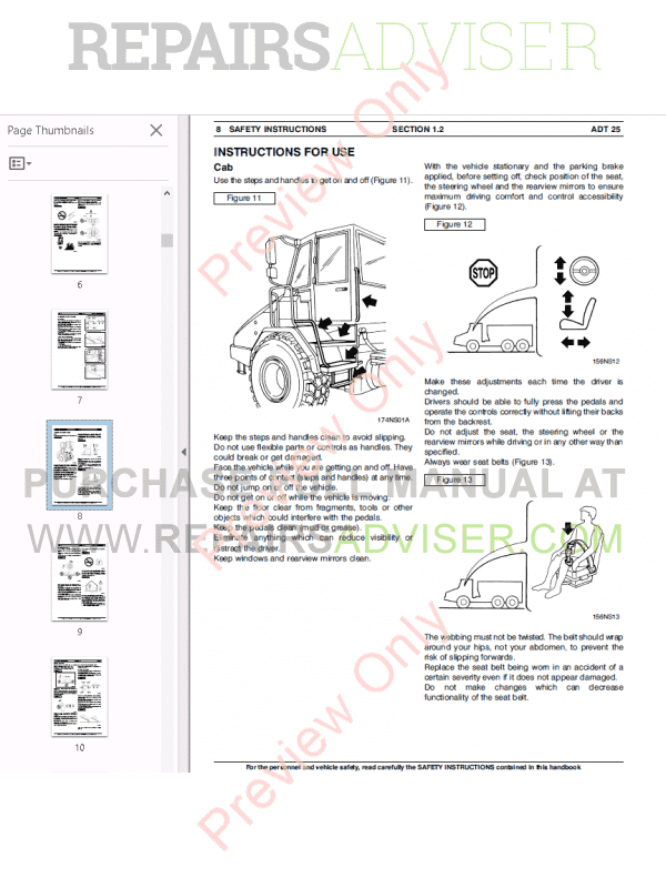 Fiat Kobelco Dump Trucks ADT 25 Workshop Manual PDF