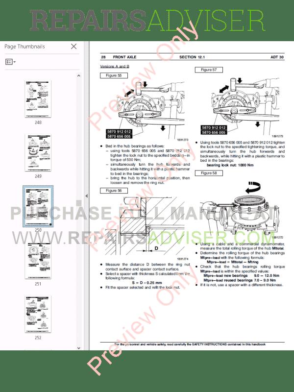 Fiat Kobelco Dump Trucks ADT 30 Workshop Manual PDF