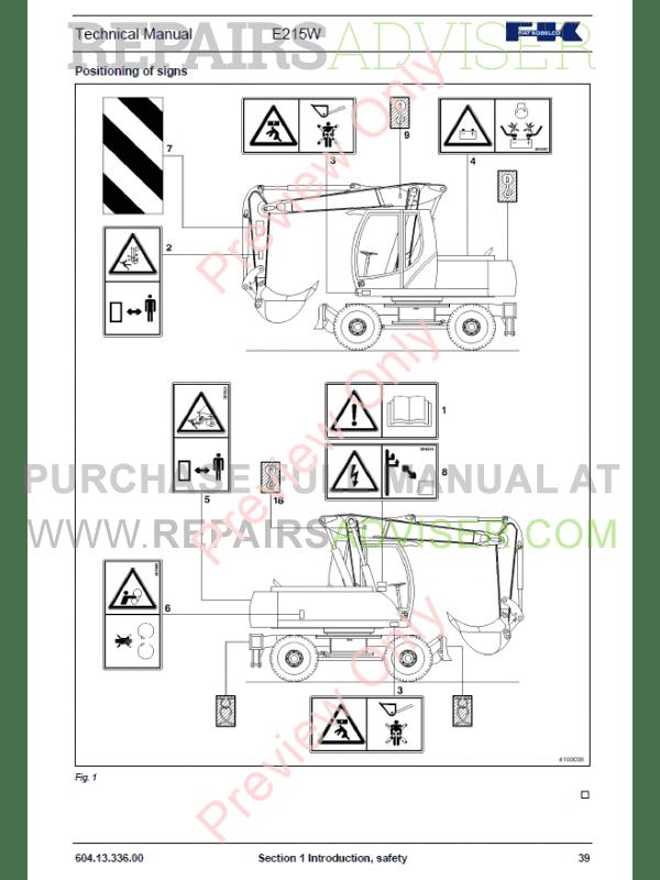 Fiat Kobelco Hydraulic Excavator E215W Manual PDF