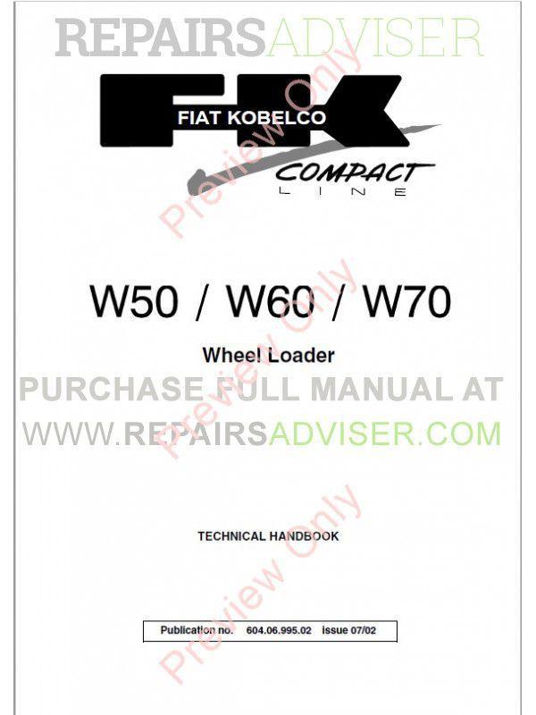 Fiat Kobelco W50, W60, W70 Wheel Loader Technical Handbook