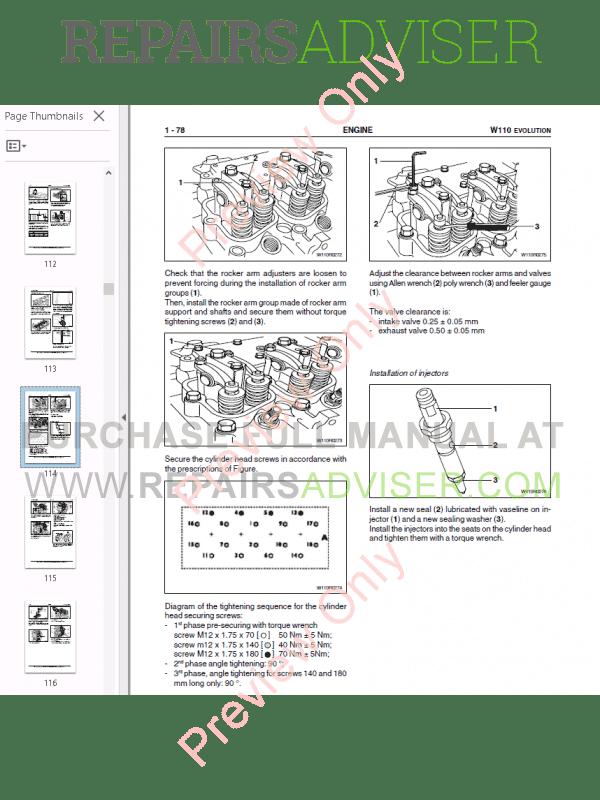 Fiat Kobelco Wheel Loader W110 Evolution Manual PDF