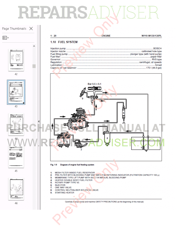 Fiat Kobelco Wheel Loader W110-W130/W130PL Manual PDF
