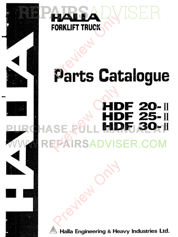 Halla Forklifts Parts Catalogue PDF Download