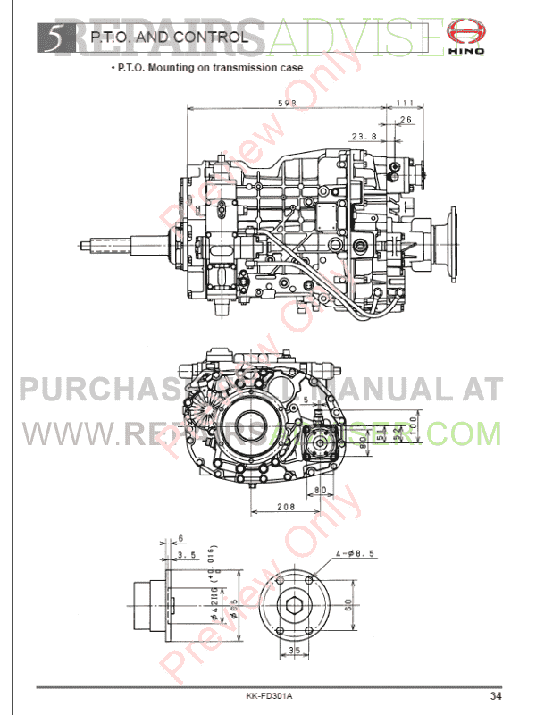 Hino 500 Series Truck Chassis FD7J Body Mounting Manual