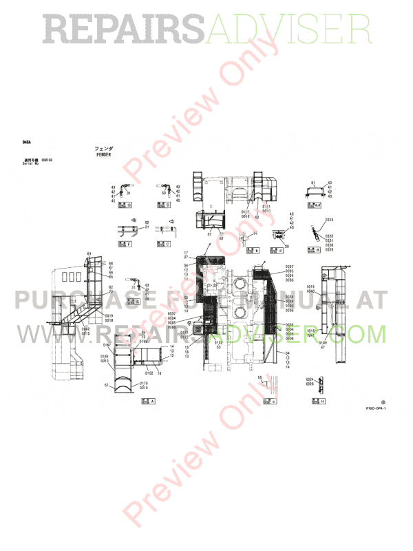 Hitachi EX1900-5 Excavator Parts Catalog PDF P18C-OP4-1