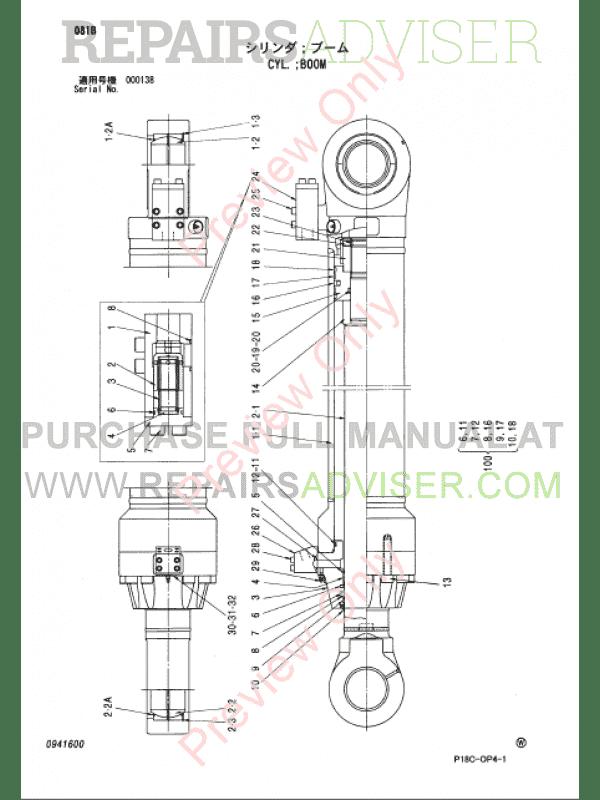 Hitachi EX1900-5 Excavator Parts Catalog PDF P18C-OP4-1