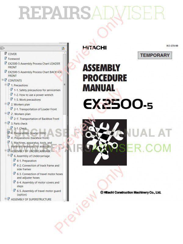 Hitachi EX2500, EX2500-5 Excavator Set of PDF Manuals Download