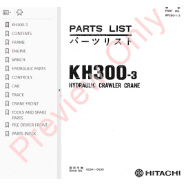 Hitachi EX100-5/100M-5/110M-5/100-5E Excavators Parts