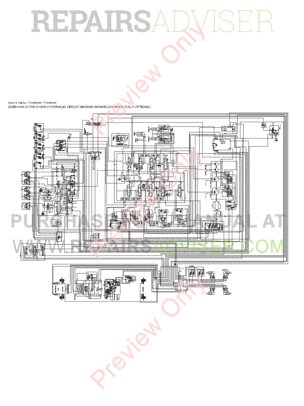 Hitachi Zaxis 140W-3 Wheeled Excavators Set of PDF Manual