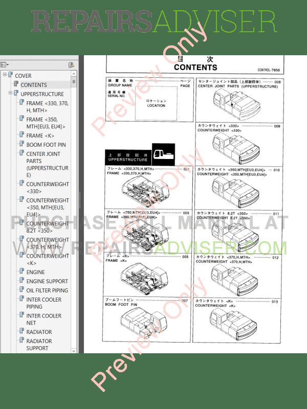 Hitachi Zaxis 330 class Hydraulic Excavators Parts