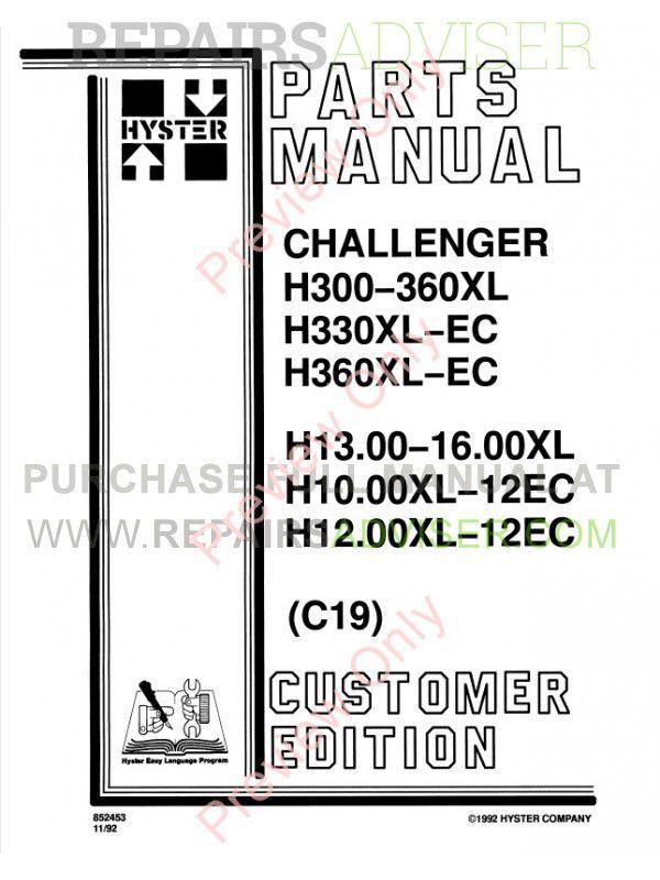 Hyster Challenger H300-H360/330XL-EC Forklifts Service