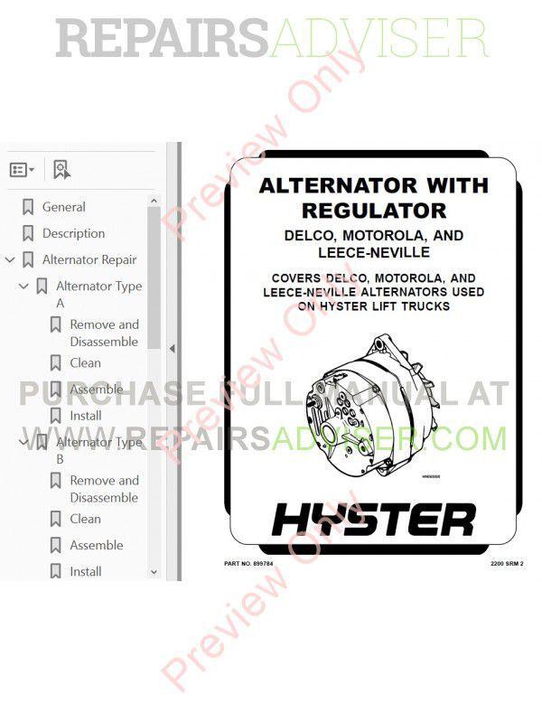 Hyster Challenger H40J, H50J, H60JS Forklifts Service