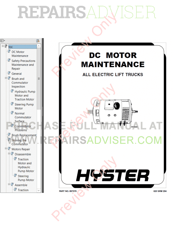 Hyster Class 1 For B168 Electric Motor Rider Trucks PDF