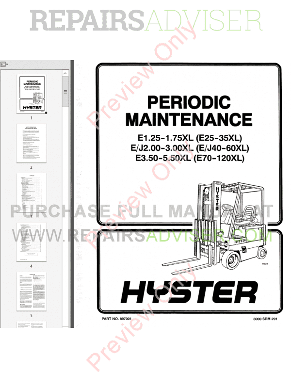 Hyster Class 1 For C098 Electric Motor Rider Trucks PDF