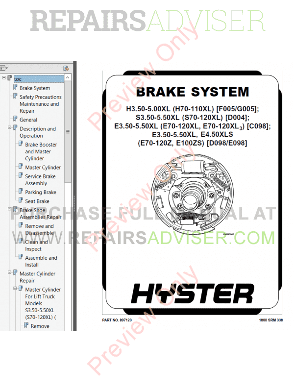 Hyster Class 1 For D098 Electric Motor Rider Trucks PDF