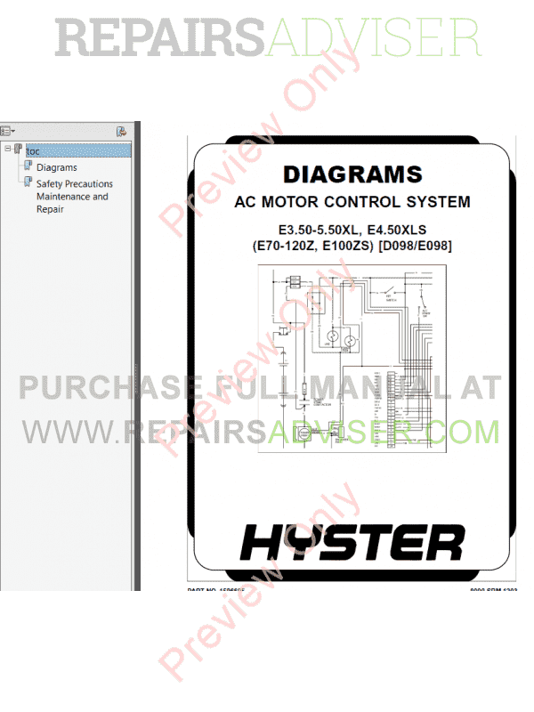 Hyster Class 1 For D098 Europe Electric Motor Rider Trucks