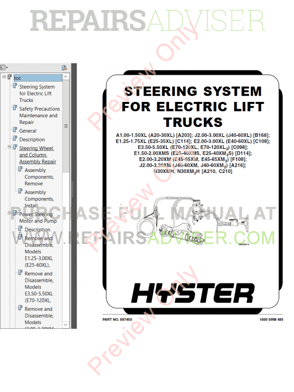 Hyster Class 1 For D114 Electric Motor Rider Trucks PDF