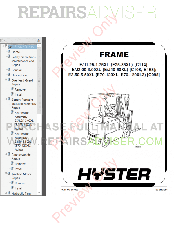 Hyster Class 1 For C098 Europe Electric Motor Rider Trucks