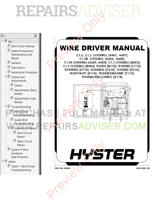 Hyster Class 2 For D210 Electric Motor Narrow Aisle Trucks