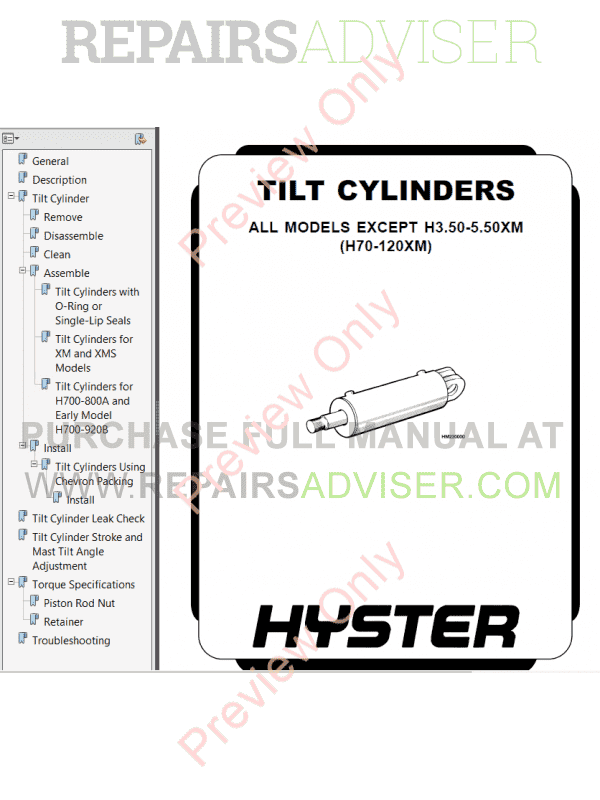 Hyster Class 4 For C002 Internal Combustion Engine Trucks
