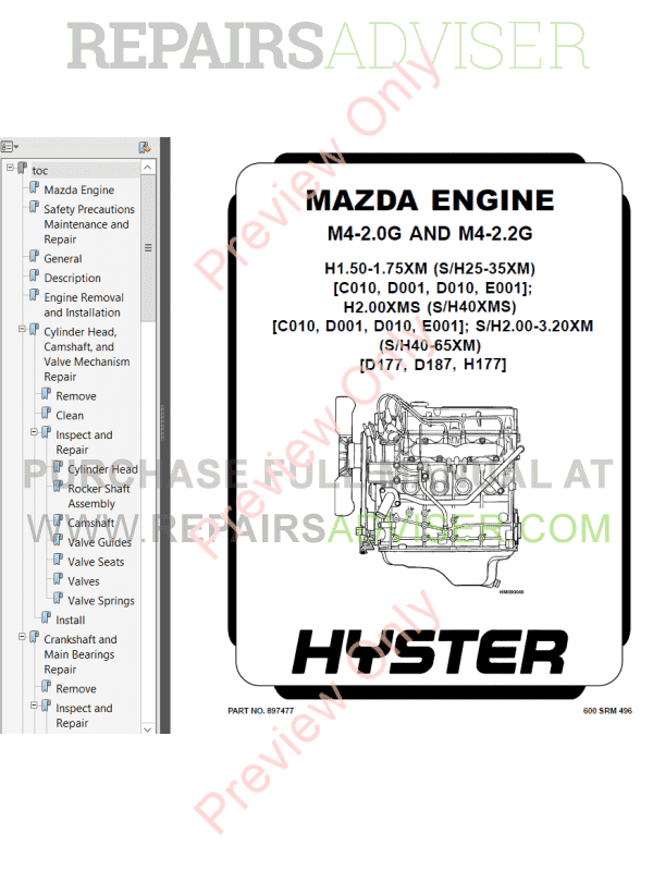 Hyster Class 4 For D010 Internal Combustion Engine Trucks