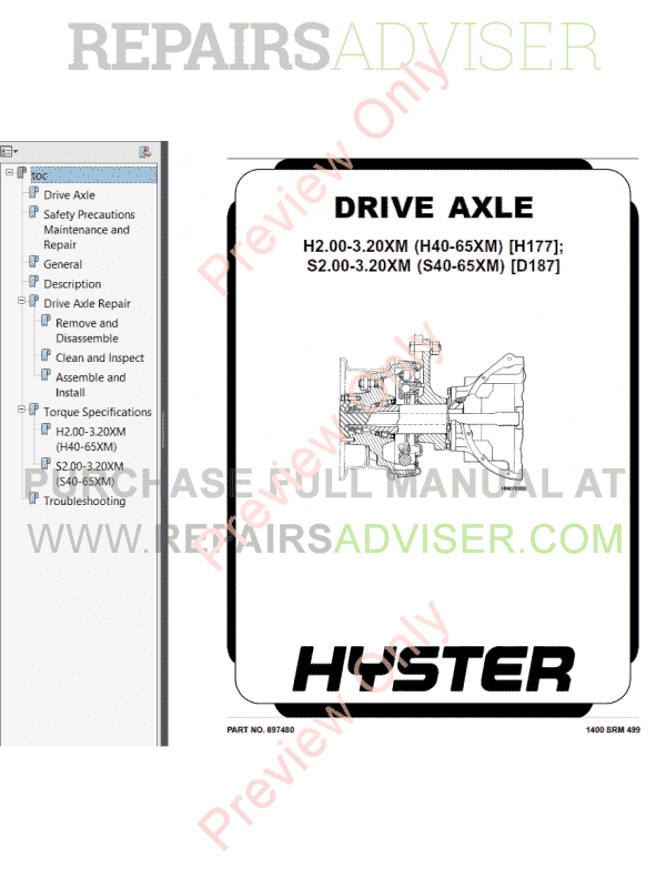 Hyster Class 4 For D187 Internal Combustion Engine Trucks