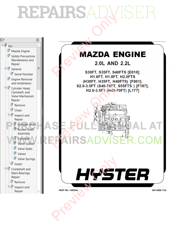 Hyster Class 4 For F187 Europe Internal Combustion Engine