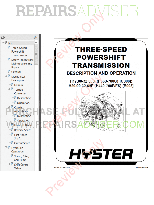 Hyster Class 5 For E008 Internal Combustion Engine Trucks