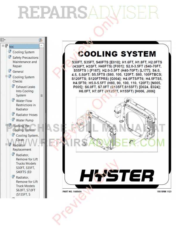 Hyster Class 5 For F001 Europe Internal Combustion Engine
