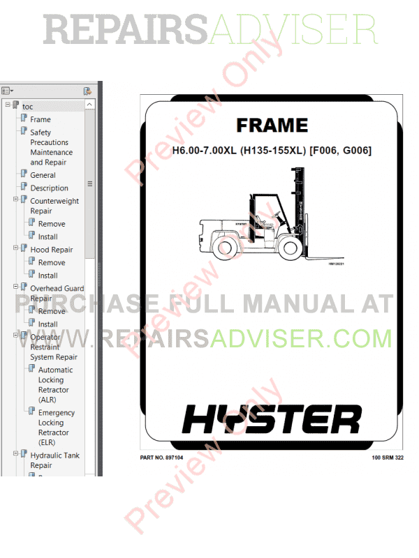 Hyster Class 5 For G006 Europe Internal Combustion Engine
