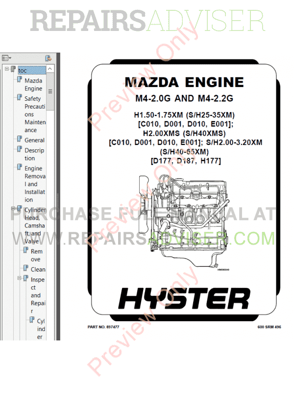 Hyster Class 5 For H177 Internal Combustion Engine Trucks