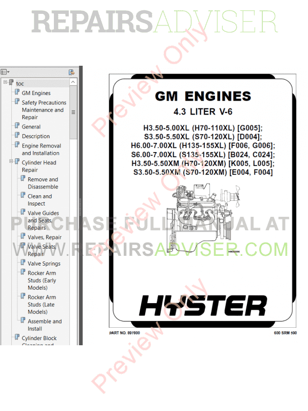 Hyster Class 5 For K005 Internal Combustion Engine Trucks