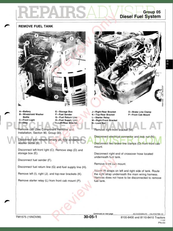 John Deere Tractors 8100-8410 Repair PDF Download