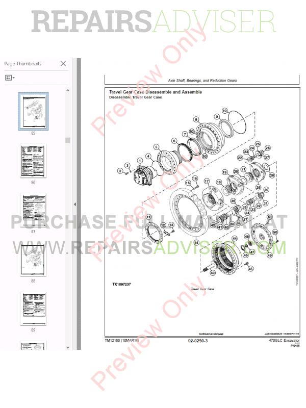 John Deere Excavator 470GLC Repair Technical Manual PDF