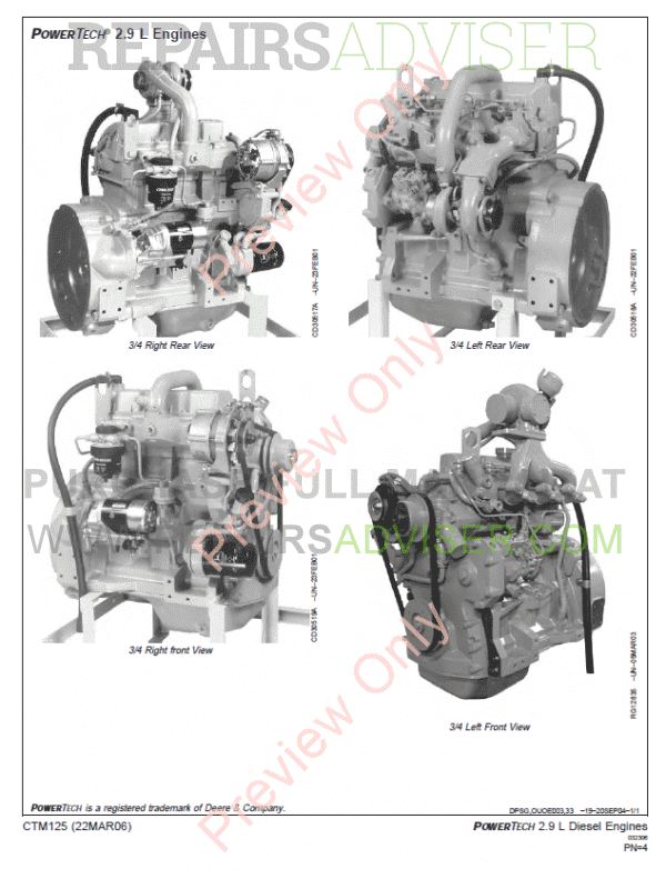 John Deere PowerTech 2.9L Engine Manual CTM125 PDF Download