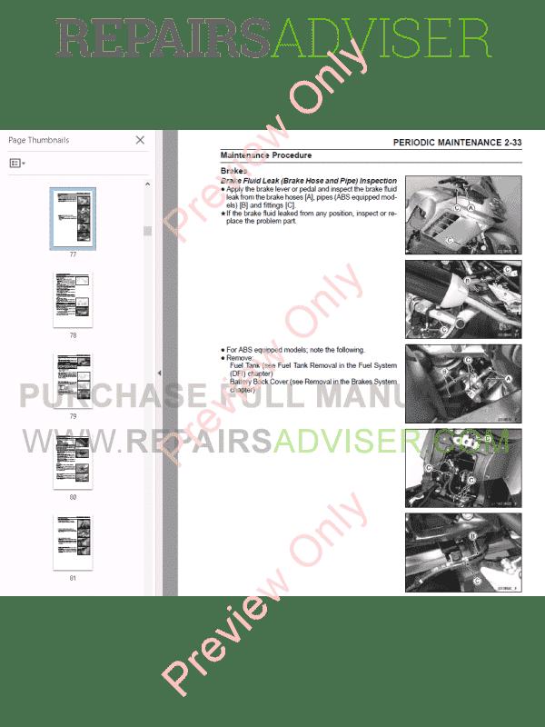 Kawasaki Motorcycles 1400GTR, Concours 14/14 ABS Service
