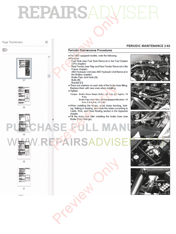 Kawasaki Z1000, Z1000 ABS Motorcycle Service Manual PDF