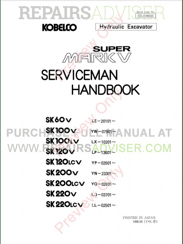Kobelco SK60-220 Super Mark V Hydraulic Excavators