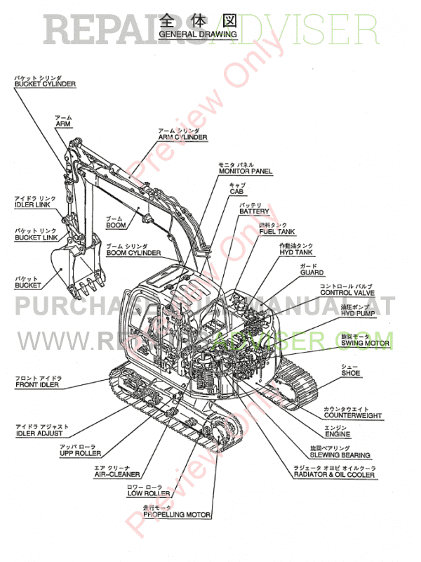Kobelco SK70SR Excavators, Isuzu Engine A-4JB1 PDF Parts