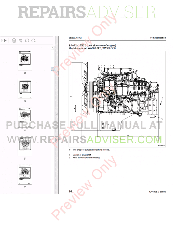 Komatsu Engine 12V140E-3 Series Shop Manual PDF Download