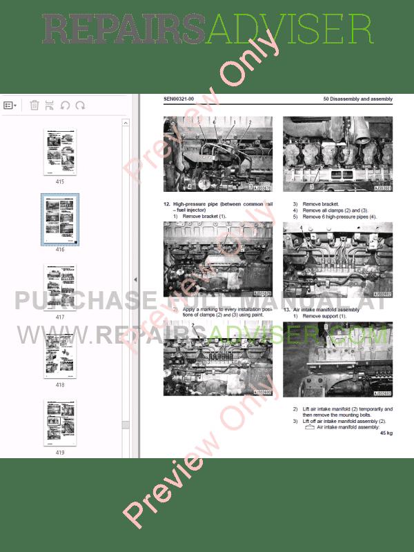 Komatsu Engine 12V140E-3 Series Shop Manual PDF Download