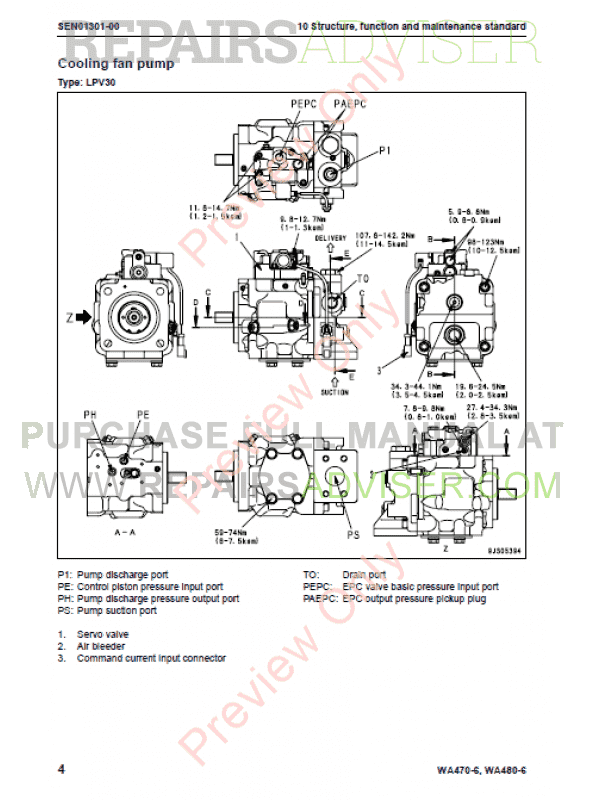 Komatsu Galeo WA470-6, WA480-6 Wheel Loader Shop Manual