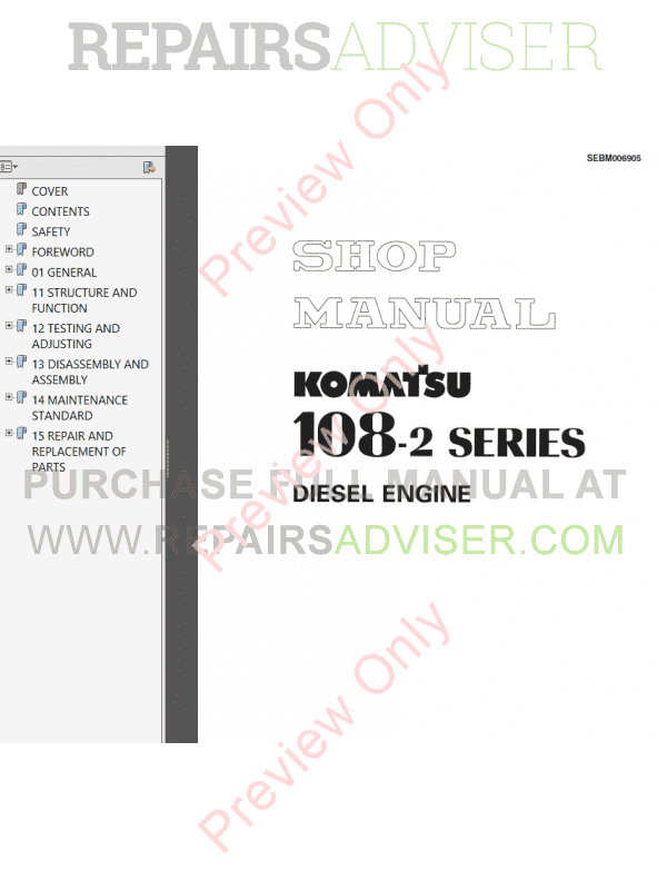 Komatsu 108 Series Diesel Engine Shop Manuals PDF Download