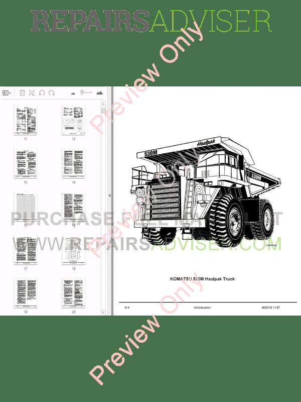 Komatsu 530M Dump Truck Operation & Maintenance and Shop