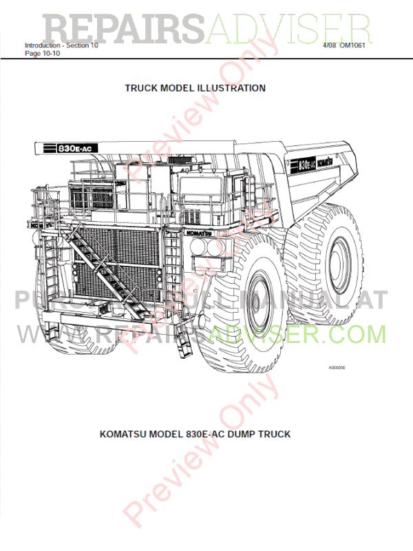 Komatsu 830E-1AC Dump Truck Set of PDF Manuals Download