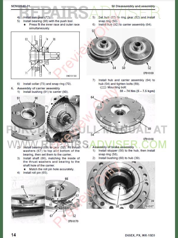 Komatsu Bulldozer D65EX/D65PX/D65WX-15 Set Manuals