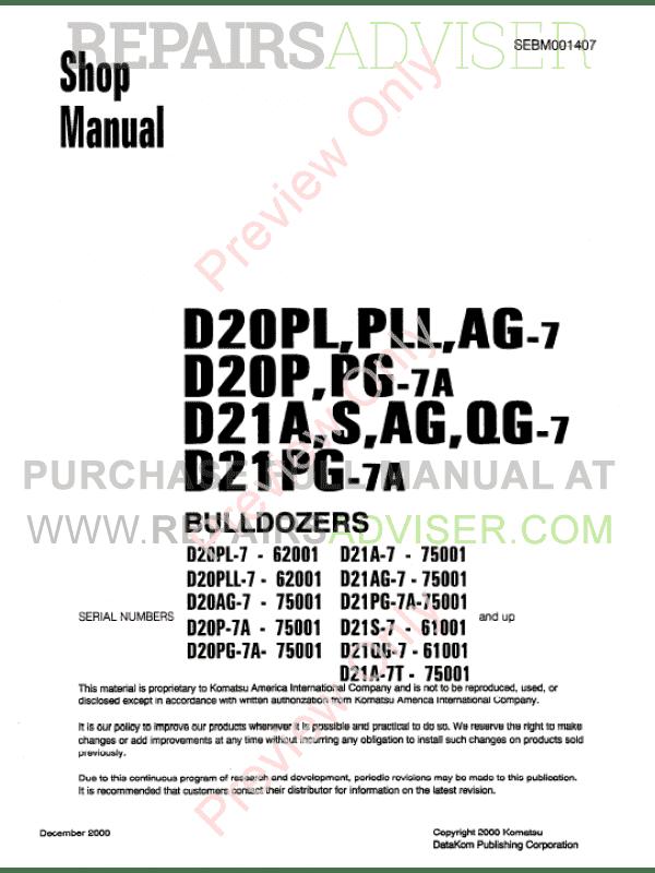 Komatsu D20PL/PLL/AG-7, D20P/PG-7A, D21A/S/AG/QG-7, D21PG