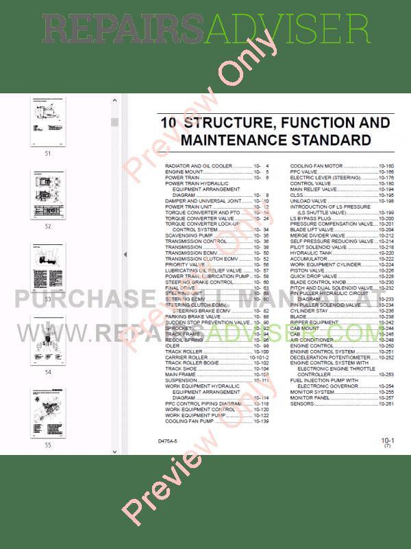 Komatsu D475A-2/3, D475A-5 Shop Manuals PDF Download