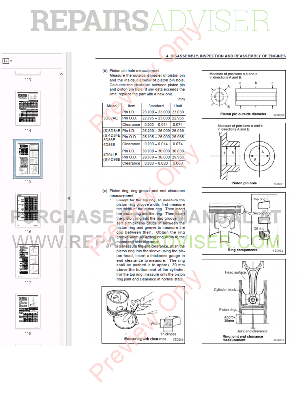 Komatsu Diesel Engine 82E-98E series Shop Manual PDF Download